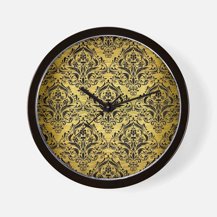 DMS1 BK MARBLE GOLD (R) Wall Clock