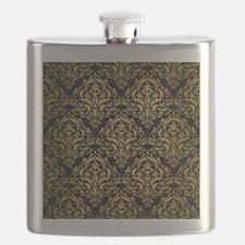 DAMASK1 BLACK MARBLE & GOLD BRUSHED METAL Flask