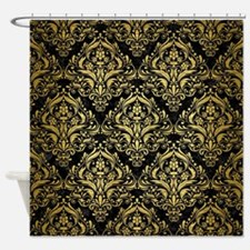 DAMASK1 BLACK MARBLE & GOLD BRUSHED Shower Curtain