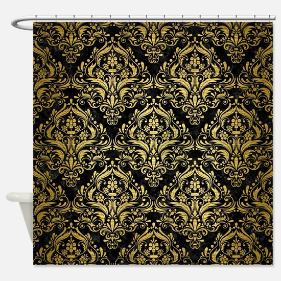 DAMASK1 BLACK MARBLE & GOLD BRUSHED Shower Curtain