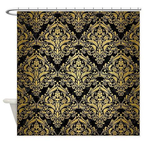 damask1 black marble u0026 gold brushed shower curtain