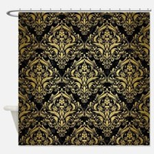DMS1 BK MARBLE GOLD Shower Curtain