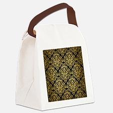 DAMASK1 BLACK MARBLE & GOLD BRUSH Canvas Lunch Bag