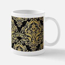 DAMASK1 BLACK MARBLE & GOLD BRUS Small Mug