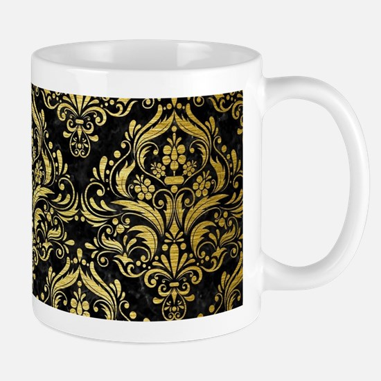 DAMASK1 BLACK MARBLE & GOLD BRUS Small Mug