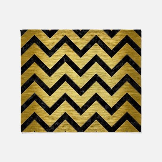 CHEVRON9 BLACK MARBLE & GOLD BRUSHED Throw Blanket
