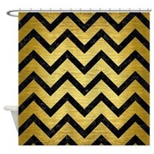 CHV9 BK MARBLE GOLD (R) Shower Curtain