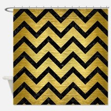 CHV9 BK MARBLE GOLD (R) Shower Curtain