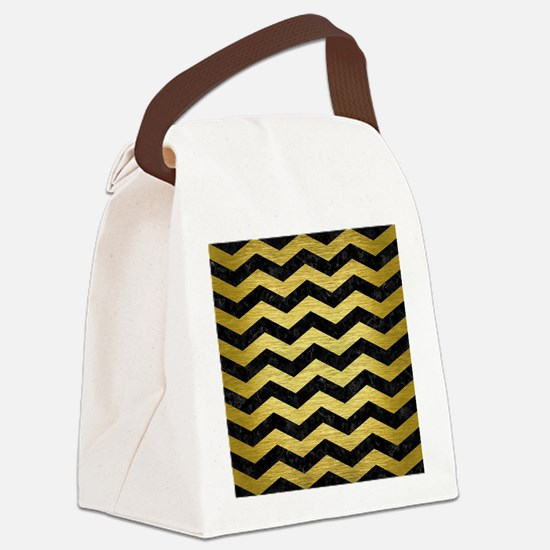 CHEVRON3 BLACK MARBLE & GOLD BRUS Canvas Lunch Bag