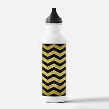 CHEVRON3 BLACK MARBLE Water Bottle