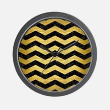 CHEVRON3 BLACK MARBLE & GOLD BRUSHED ME Wall Clock