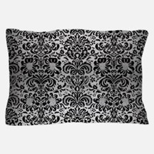 DAMASK2 BLACK MARBLE & SILVER BRUSHED Pillow Case