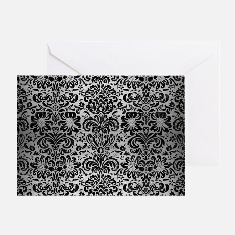 DAMASK2 BLACK MARBLE & SILVER BRUSHE Greeting Card