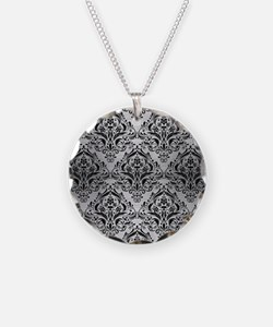 DAMASK1 BLACK MARBLE & SILVE Necklace