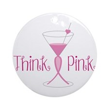Think Pink Round Ornament