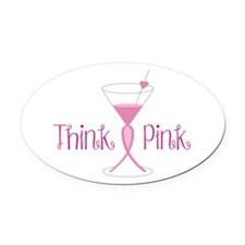 Think Pink Oval Car Magnet