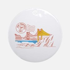 Travel San Francisco Round Ornament