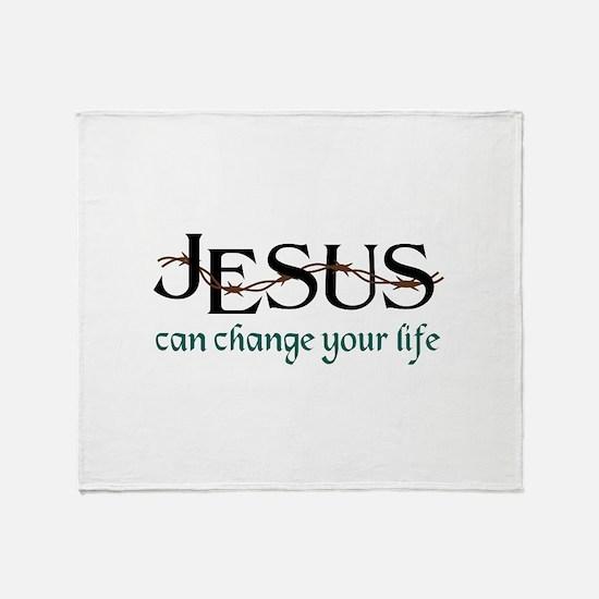 Jesus Can Change Life Throw Blanket