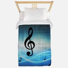 Music Notes In Water Twin Duvet