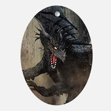 Black Dragon Oval Ornament