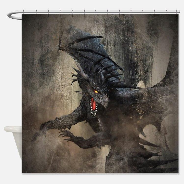 Black Dragon Shower Curtain