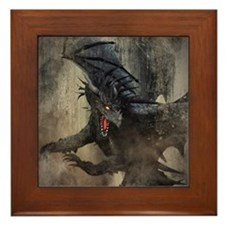 Black Dragon Framed Tile