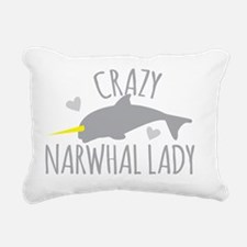Crazy NARWHAL Lady Rectangular Canvas Pillow
