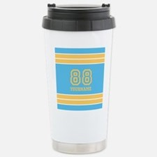 Yellow and Sky Blue Str Stainless Steel Travel Mug