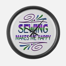 Sewing Makes Me Happy Large Wall Clock