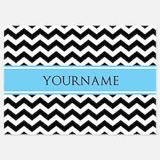 Black White Chevron Blue Monogram 5x7 Flat Cards