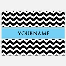 Black White Chevron Blue Monogram Invitations
