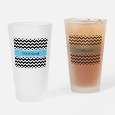 Black White Chevron Blue Monogram Drinking Glass