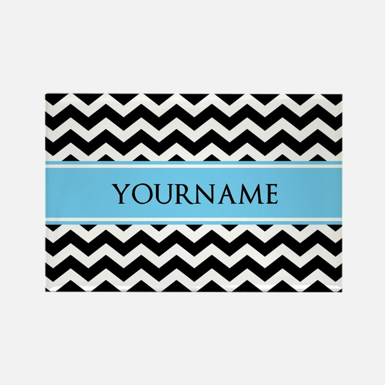 Black White Chevron Blue Monogram Rectangle Magnet