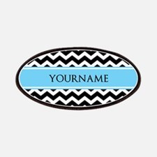 Black White Chevron Blue Monogram Patch