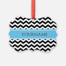 Black White Chevron Blue Monogram Ornament
