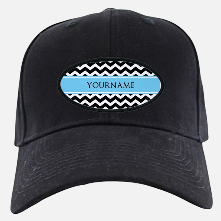 Black White Chevron Blue Monogram Baseball Hat
