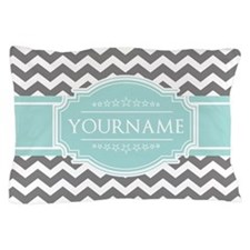 Grey & White Zigzag Custom Monogram Pillow Case