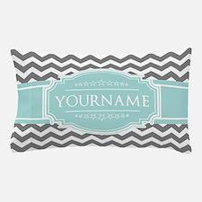 Grey & White Zigzag Custom Monogram Pillow Case