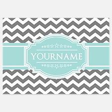 Grey & White Zigzag Custom Monogram Invitations
