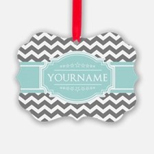 Grey & White Zigzag Custom Monogr Ornament