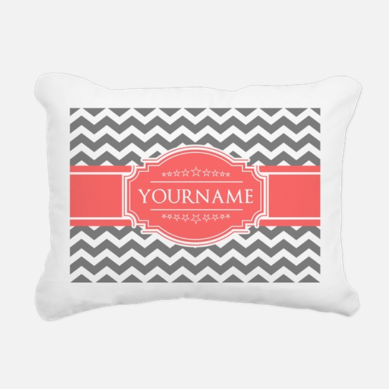 Gray Chevron and Coral C Rectangular Canvas Pillow