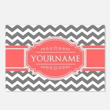 Gray Chevron and Coral Cu Postcards (Package of 8)