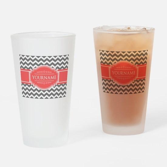 Gray Chevron and Coral Custom Monog Drinking Glass