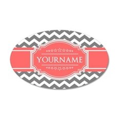 Gray Chevron and Coral Custo Wall Decal