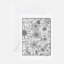 Flower Field Coloring Design Greeting Cards