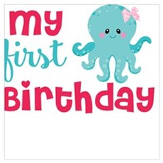 1st birthday octopus Poster