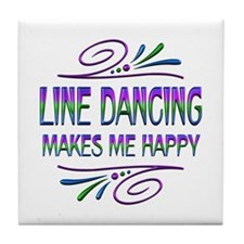 Line Dancing Makes Me Happy Tile Coaster