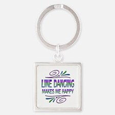 Line Dancing Makes Me Happy Square Keychain