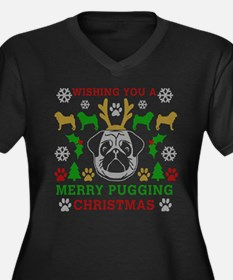 Merry Puggin Women's Plus Size V-Neck Dark T-Shirt