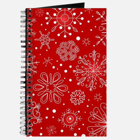 Snowflakes on Red Background Journal